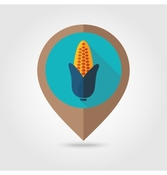 Corn flat mapping pin icon vector image