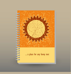 Cover of diary or notebook yellow orange sun vector