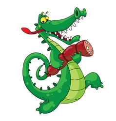 Crocodile with sausage vector
