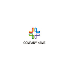Cross abstract plus colored logo vector