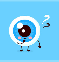 cute eyeball with question mark character vector image