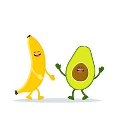 cute happy banana and avocado vector image