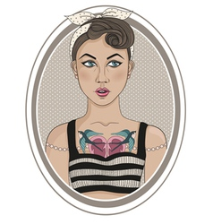 Cute rockabilly style fashion girl vector