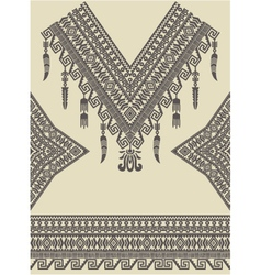 Design neckline sleeves and border in ethnic style vector