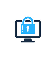 desktop security logo icon design vector image
