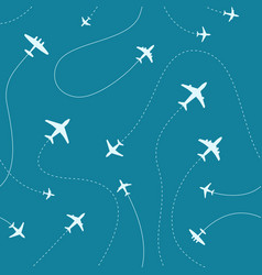 Different airplanes paths seamless pattern vector
