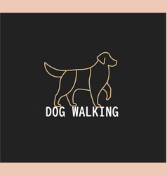 dog walking line logo concept golden retriever vector image