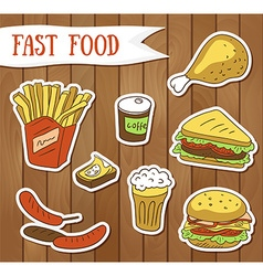 Fast food menu - Fast food stickers vector image