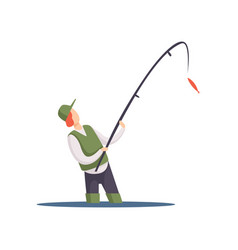 Fisherman fishing with a fishing rod vector