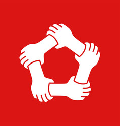 five hands holding tech other team work unity vector image