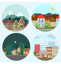 Flat design urban landscape day and night vector