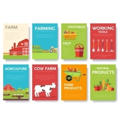 Flat farm in village set sprites and tile sets vector image