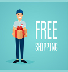 Free shipping business concept delivery man with vector