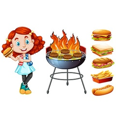 Girl and grill stove with food vector image