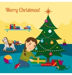 Girl decorate christmas tree vector