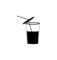 glass of water icon drink beverage black vector image