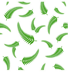 green fern leaves seamless pattern vector image