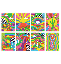 groovy retro vibes 70s hippie style psychedelic vector image