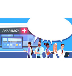 group of doctors standing at pharmacy store in vector image