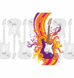 guitar rainbow waves vector image