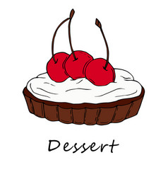 hand drawn of cherry tartlet vector image