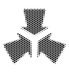 Hexagon halftone shrink arrows icon vector