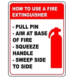 How to use a fire extinguisher informational vector