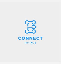 Initial e connection logo design technology vector