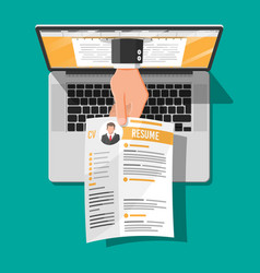 Job resume document out from laptop vector