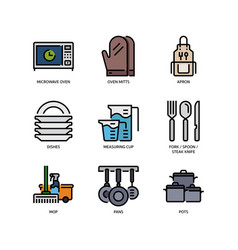 kitchen and cookware icons vector image