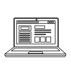 laptop computer with webpage template vector image