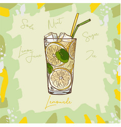 lemonade homemade classic in glass cup vector image