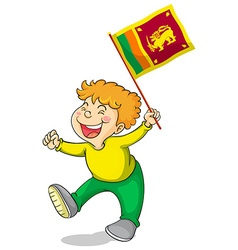 Little boy holding flag of Sri Lanka vector