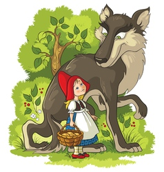 Little red riding hood and wolf in the forest vector