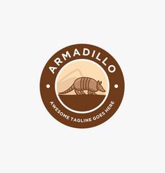Logo armadillo walking vintage badge vector