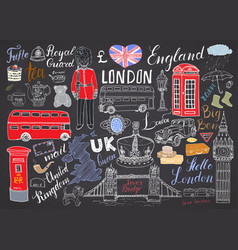 london city doodles elements collection hand vector image