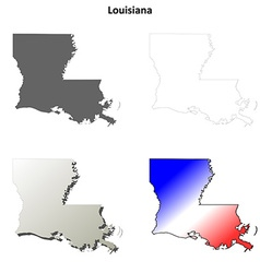 Louisiana outline map set vector