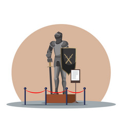 Medieval guard statue in knight armor at museum vector