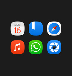 Mobile application icons set isolated on black vector