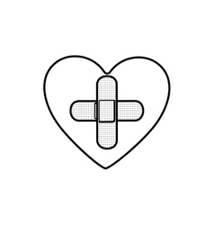 Monochrome contour of heart with band aid in cross vector
