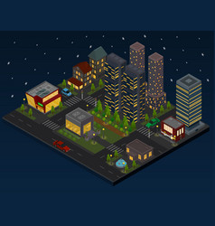 night city district panorama outdoor scene concept vector image