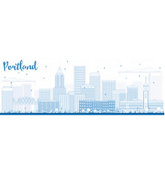 Outline portland skyline with blue buildings vector