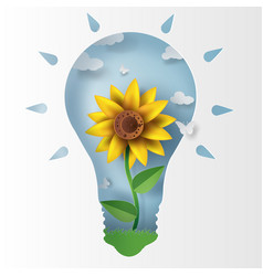 paper art of sunflower with lamb concept vector image