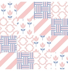 Patchwork quilt pattern tiles vector image