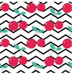 pattern with cute cherries on stripes vector image
