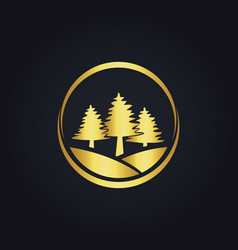 Pine tree icon gold logo vector