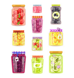 Preserved fruit and vegetables set icons vector