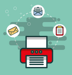 printer email message clipboard paper office vector image