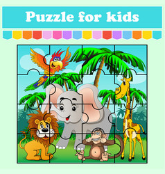 puzzle game for kids animals in meadow vector image