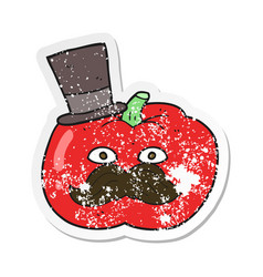 Retro distressed sticker of a cartoon posh tomato vector